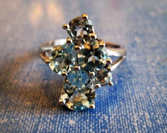 RING  -  Blue TOPAZ - PEAR Cut and Round   - 925 - Sterling Silver - size 9  blue460