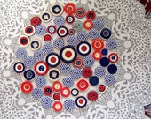 Red White Blue buttons, Button lot, Polka Dot buttons, Button supply, American Buttons, Patriotic buttons