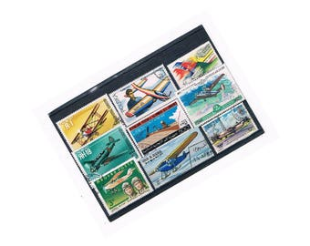 Aircraft & Flight Postage Stamp Selection on stock card