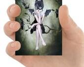Lowbrow ACEO Card - Bat Girl Print - Girl And Bats - ACEO Art Card - Artist Trading Card - Miniature Art Print - Bat Art - Moonlighting