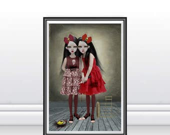 A3 Art Print - Goth Girl Art Print - Gothic Art - Goth Girls - A Deliberate Accident
