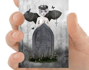 Angel Aceo Card - Gothic Angel - Fallen Angel