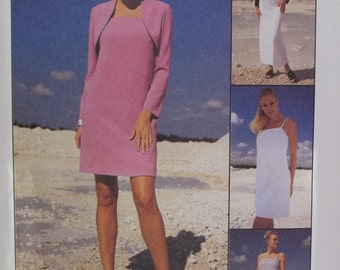Misses' Slip Dress, Shrug and Pants McCall's 2241 Sewing Pattern Long Dress and Lined Bolero, Spaghetti Strap Dress, Tunic Size 8 - 12 UNCUT