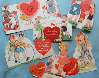 Vintage Children's Valentine Cards Fold Out Stand Up