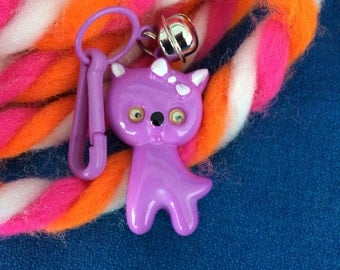 Vintage 80's Plastic Bell Clip Charm Adorable Purple Kitty Cat with Google Eyes Toy Necklace Jewelry Pendant Totally Awesome!