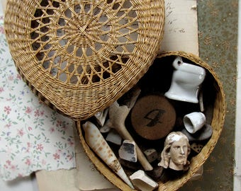 found object collection - antique and vintage junk drawer lot in a wicker box - assemblage and mixed media supply