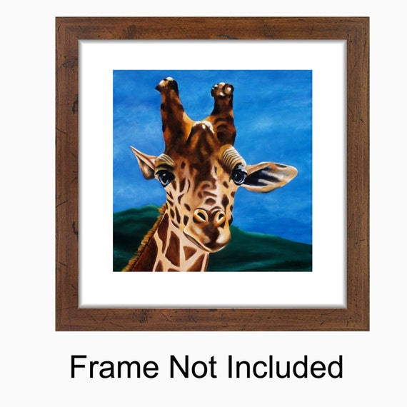 Giraffe Painting - Children's Room, Nursery Giraffe Art Print Titled: What's Up