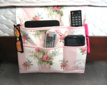 Bedside Caddy, Bed Organizer Storage, Bed Pockets, Farmhouse Decor, Cottage Chic