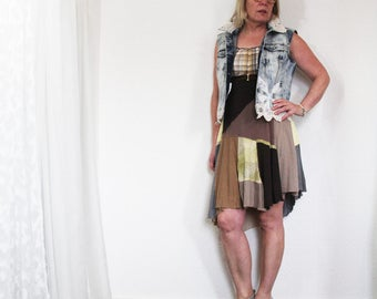 upcycled clothing, upcycled fashion, dress . meadow song . S