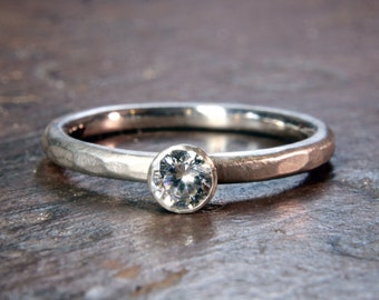 1/4 or 1/2ct Solitaire engagement ring. Recycled silver, ethical lab grown moissanite. Hand made to order in the UK