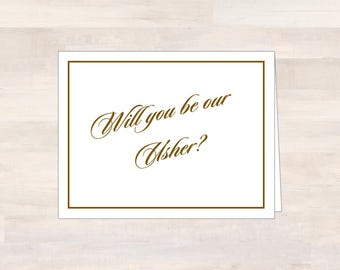 Wedding Party Cards, USHER, Will You Be Our Usher, Asking Usher Card, Ask Usher Card, Wedding Note Card, Will You Be My Usher, Usher Gift