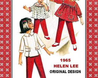 Vintage 1965-DESIGNER TOPS-PANTS-Sewing Pattern-Helen Lee Original Design-Smock Tops-Loose Easy Fit-Pencil Pants-Size 6-Rare-Collectible