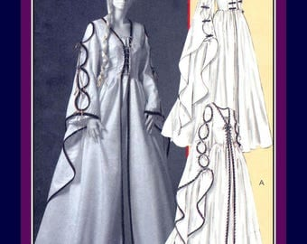 Lovely Renaissance Gown- Sewing Pattern-Two StylesDramatic Bell Sleeves-Low V Neckline-Lace-Up-Frog Closure Bodice-Uncut-Size 14-20-Rare