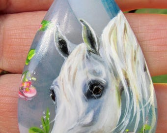 Gray White Rose Arabian Horse hand painted pendant necklace jewelry agate sterling silver equestrian