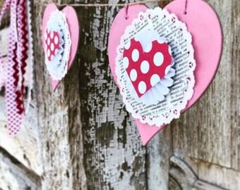 red & pink polka dot heart banner