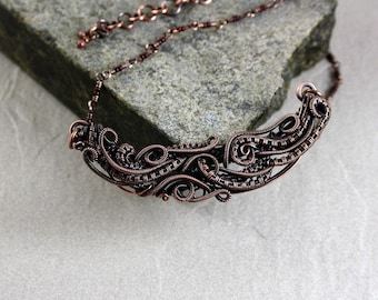 Antique Copper, Wire Jewelry, Gift For Her, Canada, Statement Necklace, Wire Wrap Pendant, Reg. 39.00