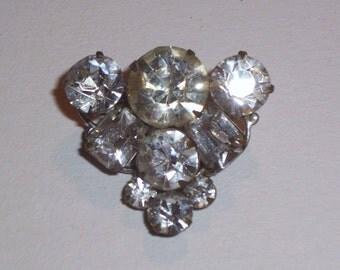 Vintage Tringular Rhinestone Brooch or Pin