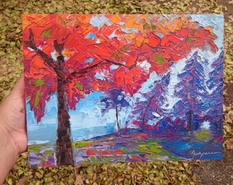 Autumnal Landscape Painting, colorful painting, holiday gift idea, palette knife artwork, orange & purple, small painting, oil on wood, 9x12