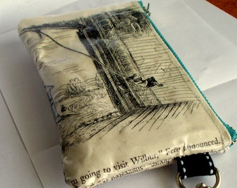 Recycled Book Page Coin purse UPCYCLED from vintage Charlottes Web book with stainless steel swivel lobster clasp