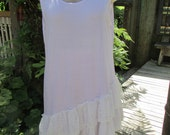 GARAGE SALE..! Vintage Kitty.. hand dyed lilac.... layering tunic slip with two lace layers...., shabby chic... large/XL