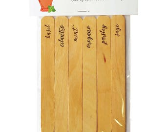 Herb Garden Markers - Set of six Wooden Stakes