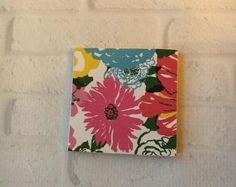 Preppy Drink Coaster, Floral Coaster, Pink and Blue Coaster, Preppy Inspired Coaster, Drink Coaster, Colorful Coaster, Preppy Barware