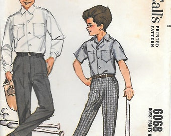 McCalls 6068 1960s Boys Shirt and Pleated Pants Vintage Sewing Pattern Size 4 Short Long Sleeve