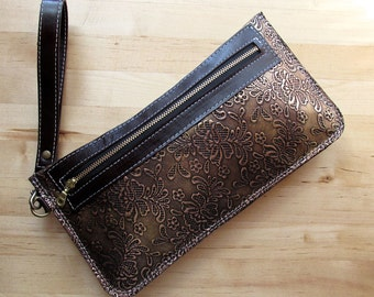 Everyday clutch, Leather Wristlet, Zippered Clutch, Toiletry Pouch, Copper Wallet, Large Bag, Birthday Gift, Gifts For Mom, For Her