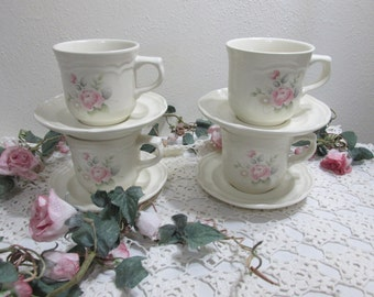 Pfaltzgraff Cup and Saucer Set of 4 Tea Rose