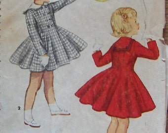 vintage 1954 simplicity pattern 1020 child girl coat with detachable collar sz 4