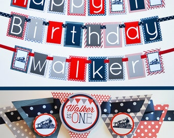 Vintage Train Birthday Party Decorations in Navy Blue,Red & Silver Fully Assembled