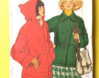 Uncut Vogue 9894 Misses' Jacket Hooded, lined,  turn back cuffs, hood darted into neckline 70s Vintage Sewing Pattern Bust 36 inches