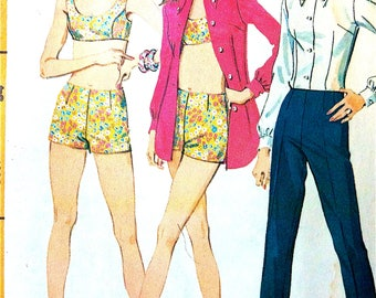 Uncut McCall's 9288  Misses' Bathing Suit, Body Shirt and Straight Pants Swimsuit 60s or Early  1970s Vintage Sewing Pattern  Bust 34 inches