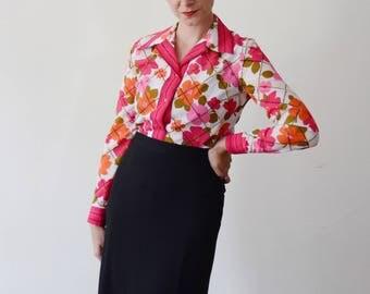 1970s Alex Colman Pink Floral Blouse - S/M