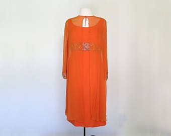 CLEMENTINE // stunning 1960s beaded chiffon party dress and cover set