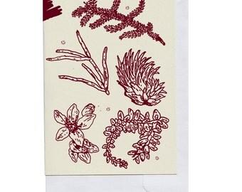 Burgundy Plant Pieces Card