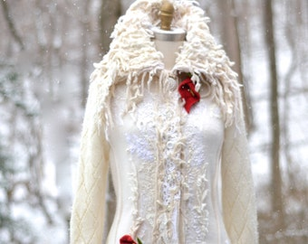 White sweater COAT- fantasy boho Winter Wedding, OOAK refashioned clothing, Eco art to wear altered couture. Size M/L. Ready to ship