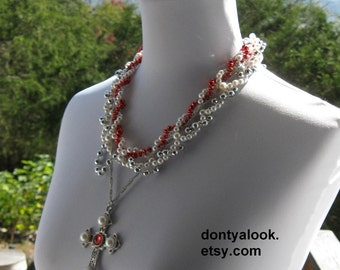 Red White Silver Cross Necklace #20