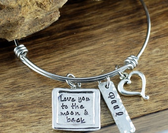 Love you to the Moon and Back Bracelet | Hand Stamped Jewelry | Personalized Jewelry | Moon and Back Bracelet | Gift for Her | Mothers Gift