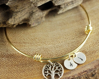 Gold Tree of Life Bracelet, Family Tree Bracelet, Charm Bracelet, Gold Bangle Bracelet, Tree of Life Bangle, Initial Bangle Bracelet
