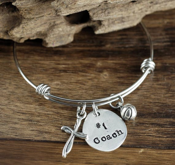 Basketball Coach Bracelet, Personalized Sports Bracelet, Basketball Charm Bracelet, Gift for Coach, Basketball Jewelry, Team Coach Gift