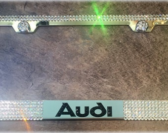 Audi License Plate Frame made with Swarovski Crystals - Audi Car Jewelry