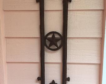 IRON POT HOLDER, Texas Star, Vintage Garden, Rustic Garden,Garden Pentagram,Antique Garden, Garden Decor, Haunted at A Vintage Revolution