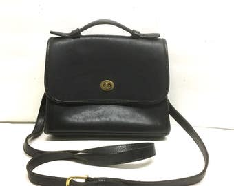 Vintage 90s BLACK COACH Messenger Court Bag / Coach 9870 Crossbody Handbag / Black LEATHER Purse With Removable Strap