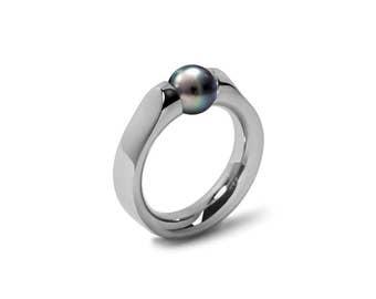 Elegant Black Pearl Ring Tension Set in Steel Stainless