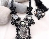 Fornasseti  crystal statement necklace   black white tourmaline  jewelry   black pave pearl   black tassel fashion jewelry trends