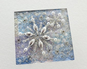 Beaded snowflake fabric Christmas card - 4.75 inch square handmade card - Stitched fabric Winter patchwork - Holiday art quilt card