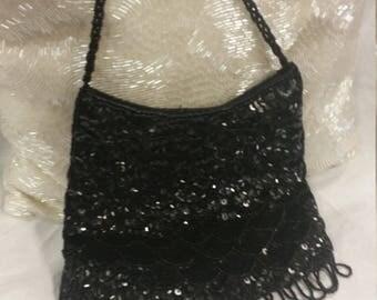 vintage black bag, beads sequins, 90s does 60s, black beaded bag, black sequin purse, across body bag, black evening bag