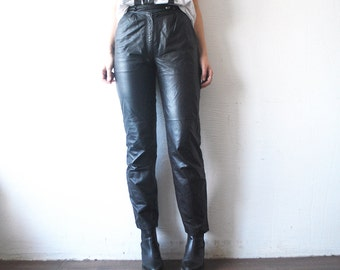 80s black leather trousers. skinny leather pants. high waist pants - xs