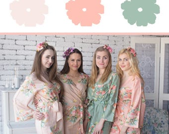 Blush, Peach and Sage Wedding Color Bridesmaids Robes - Premium Soft Rayon - Wider Belt and Lapels - Wider Kimono sleeves